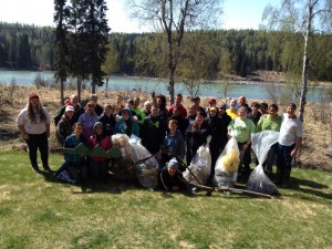 Cook Inlet Academy's class picked 5 large bags of trash Monday