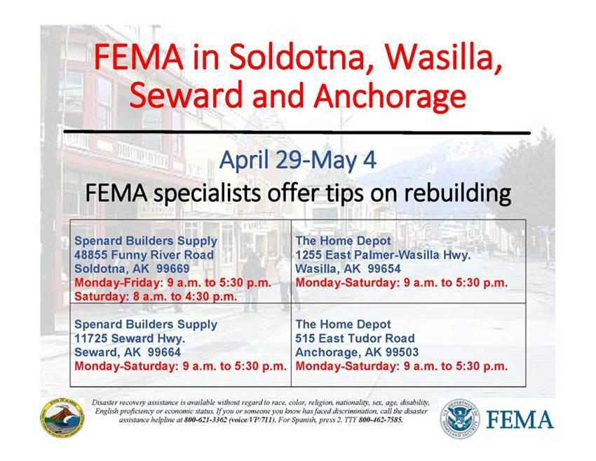 FEMA Specialists Offer Rebuilding Tips in Soldotna, Seward