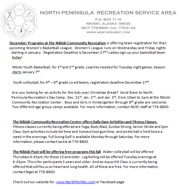 North Peninsula Recreation Service Area Events @ North Peninsula Recreation | Kenai | Alaska | United States